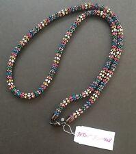 "Betsey Johnson ""Confetti"" Multi-Colored Faceted Stone Hematite Strand Long"