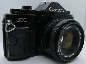Vintage Canon A-1 35mm SLR Film Camera, Canon 50mm f1.8 Lens