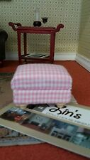 Dolls House Miniatures 1/12th Scale DF1164 Pink  & White Check Footstool New