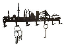 Schlüsselbrett / Hakenleiste * Hamburg Skyline * - HH - Metall - 7 Haken