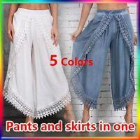 丿丿Women's Fashion Casual Lace Harem Pants Wide Leg Pants Ladies Loose Large Size