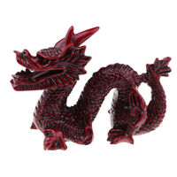 Wood Red Chinese Feng Shui Dragon Figurine Statue for Luck and Success