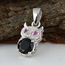 Natural Black Spinel Pink Tourmaline Pendant 925 Solid Silver Owl Pendant Locket