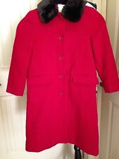 Laura Ashley NWOT Mother and Child Solid Red Girls Wool Coat  Size 6 GD8