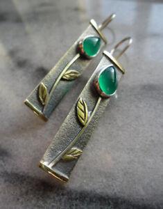Boho 925 Silver Green Flower Emerald Earrings Ear Hook Dangle Women Wedding Jewe