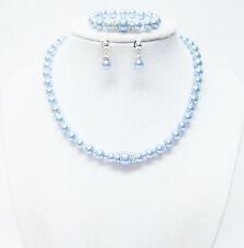 """13"""" Light Blue Glass Pearl Necklace/Bracelet & Earrings Set for Little Girl"""