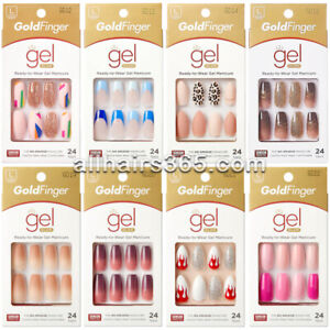 Kiss Goldfinger Gradient Gel Nails Glitter Matte French Coffin Leopard Long *1Pc