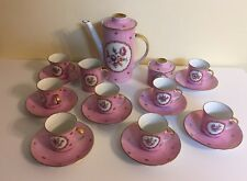 Vintage Bavaria Germany WUNSIEDEL Pink Floral Teapot, Cups, and Saucers Set