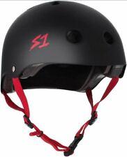S-One Helmets - Lifer Matte Black with Red Straps -  S1 Lifer Certified Helmet