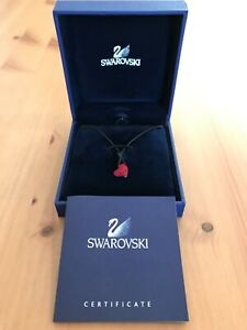 New Rare Swarovski Eros Red Pave Crystal Heart Necklace Black Adjucstable Rope !