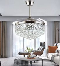 """New ListingModern 42"""" Crystal Fandelier Retractable Blade Ceiling Fans Lights with Remote"""