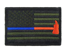 Blue & Red Thin Line Flag  Police Firefighter Hook & Loop Morale Tags Patch GB