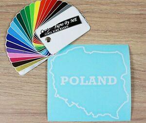 POLAND (Polska) naklejka Car Sticker Vinyl Decal Adhesive Bumper Tailgate WHITE