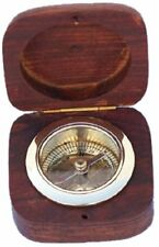 """Antique Nautical Compass-Brass Compass with wood Box, 3"""" Christmas Day Gift"""