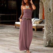 CA Womens Bandeau Holiday Off Shoulder Long Dress Ladies Summer Solid Maxi Dress