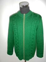 vintage Strickjacke grün Zopfmuster hippie Wolljacke reine Schur-Wolle 80`s M