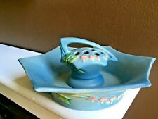 1938 Roseville Bleeding Heart Blue Console Bowl and RARE Matching Flower Frog