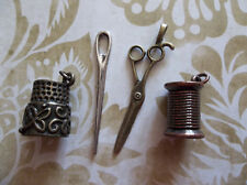 4 Piece Sewing Kit Charms - Scissors, Needle, Spool of Thread & Thimble Pendants