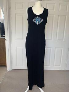 Kenzo Jeans Black Sleeveless Maxi Dress with Logo Size XL