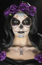 Multi-coloured Day of The Dead Tattoo Transfers – Halloween Makeup Smiffys 41569