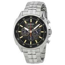 New Seiko Solar Recraft Black Dial Chronograph Stainless Steel Mens Watch SSC511