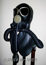 FETISH Heavy Rubber GAS MASK Latex HOOD+Mouth GAG+TWO Rebreather BAGS+Twin HOSES