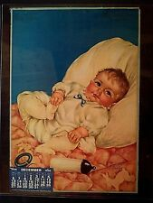 "Vintage 1936 Charlotte Becker baby art ""All's Well"" 14"" x 20"" Big Bend Dairy, OK"