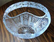 Vintage HUGE Crystal Cut Glass BASKET Hobstar  Cross Hatching Thumbprint Diamond