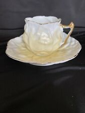 Vintage Demitasse Yellow & White Cabbage Leaf Germany W/ Gold Teacup & Saucer