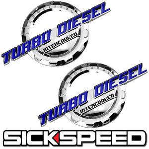 2 PC BLUE/CHROME TURBO DIESEL ENGINE MOTOR BADGE FOR TRUNK HOOD DOOR TAILGATE A