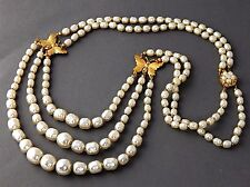 MIRIAM HASKELL Pearl SAUTOIR BUTTERFLIES Beaded Clasp NECKLACE Vintage RussianGP