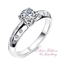 925 Sterling Silver SONA Diamond 0.5 Ct Side Stones Engagement Wedding Ring