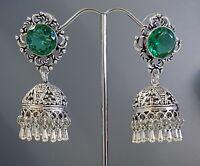 Silver Faceted Green Tourmaline Quartz Jhumki Style Droplet Earrings