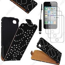 Etui en PU cuir flip avec STRASS Noir Apple iPhone 4S 4+Mini Stylet+3 Film écran