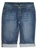 Lane Bryant Capri Rolled Cuff Jeans Stretch Denim Embellished Pockets Size 18