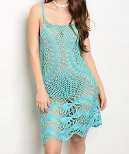 Turquoise See-Thru CoverUp Openwork Crochet Shift Dress | Sz 2 4 6 8 (Not Lined)