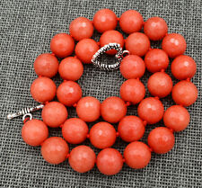 "12mm Brazil  orange faceted gemstone Necklace 18"" Tibetan silver love clasps"