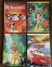 Dvd lot of Walt Disney Pixar Cars The Incredibles Bambi ll and Tarzan ll