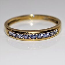 Chanel set Tanzanite 9ct Yellow Gold Half Eternity ring size P 1/2 ~ 8