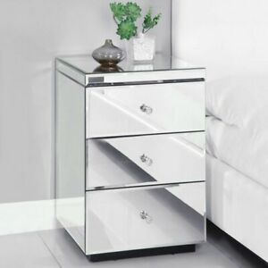 Mirrored Glass Bedroom Bedside Table Crystal Side Chest 3 Drawers Units Cabinet