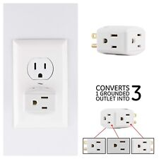 Wall Socket Splitter Divider Electrical Multi Plugs 3 Outlet Tap Power Adapter