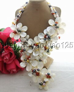 White Pearl white Shell Statement Necklace handmade Statement necklace