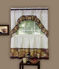 "Coffee Complete Tier & Swag Set, KITCHEN CURTAIN  Cappuccino- café & laté 24"" L"