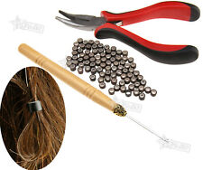 Hair Extension Kit 100pc Micro Silicones Beads Metal Pliers and Pull Hook
