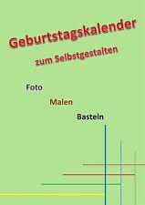 Geburtstagskalender A4 Grün Kreativ Foto Bastel Jahres Kalender immerwährend