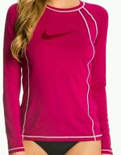 NEW NIKE LONG SLEEVE RASH GUARD WOMEN'S SWIM SHIRT SURF SWIMWEAR UPF 40+ SZ M