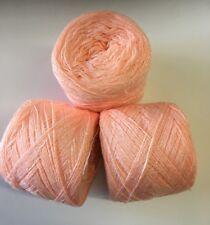 Lace yarn Crystal Color 256 Peach Acrylic/Rayon. 900 yrds per ball. 1 lot of 3.