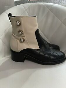 CHANEL Black & Ivory Quilted Lambskin Pearl Embellished Ankle Boots Size 39