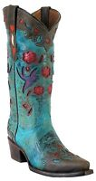 Women's Embroidered Flower Distressed Leather Cowgirl Western Boots Turquoise