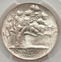 1935 50C Connecticut Commemorative Silver Half Dollar PCGS MS66 CHOICE GEM